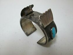 NATIVE AMERICAN OLD PAWN NAVAJO STERLING SILVER & TURQUOISE WATCHBAND