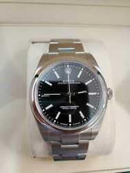 ROLEX OYSTER PERPETUAL 114300 39MM STEEL MENS WATCH BLACK INDEX Dial