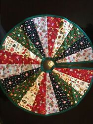Christmas Tree Skirt Design #1 Unique Handcrafted 23quot; Cotton With Quilted Back $10.95