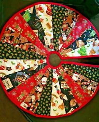 Christmas Tree Skirt Design #5 Unique Handcrafted 23quot; Cotton With Quilted Back $10.95