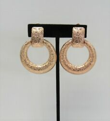 Rose Gold Plated Textured Circle Dangle Drop CLIP ON Earrings # 063  Clip-Ons