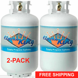 Propane Tank Cylinder TWO Pack 30 Lb Vertical OPD Refillable Steel Gas RV BBQ
