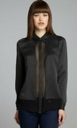 EQUIPMENT FEMME Earl Sheer Silk Panel Blouse Shirt WOMENS SZ XS Black