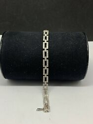 Vintage Antique 18k White Gold And Dianond Link Bracelet
