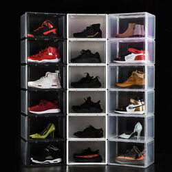 Magnetic Shoe Storage Box Drop Side Front Sneaker Case Stackable Container ForAJ $14.99