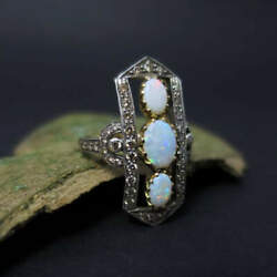 Art Deco Ring with Opals and Diamonds