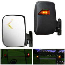 2pcs Golf Cart Side Mirrors Rear View Mirrors LED Fits Club Car Universal EZGO $29.90