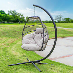Outdoor Large Lounge Chair Patio Hanging Egg Seat Swing Cushion Headrest Beige $259.95