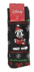 New Disney MICKEY MOUSE Mens Novelty Crew Socks CHRISTMAS HOLIDAY Santa Hat $5.99