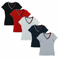 Tommy Hilfiger Womens T-shirt V-neck Ribbon Tee Flag Short Sleeve Solid New Nwt