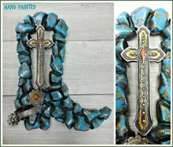 Western Country Rustic Turquoise COWGIRL BOOT CROSS Wall Art Plaque Decor Gift $34.95