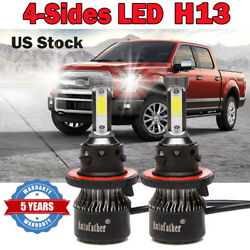 Pair H13 1800W 220000LM LED Headlight Bulbs Kit High Low Beam CREE 4Side 6000K