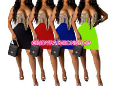 Women Stapless Sequins Tassel Splicing Plunging V Neck Bodycon Party Dresses #S $20.88
