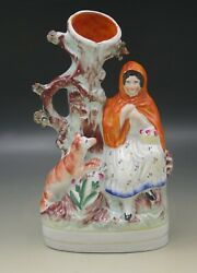 EARLY STAFFORDSHIRE RED RIDING HOOD WITH WOLF SPILL VASE FIGURINE 10