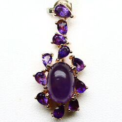 NATURAL PURPLE AMETHYST PENDANT 925 STERLING SILVER ROSE GOLD COATED