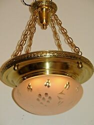 Antique Chandelier Brass1920 Cut Glass Grape Vine Frosted Shade. $325.00