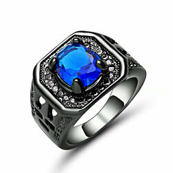 Deluxe Size 7 Blue Sapphire 18KT Black Gold Filled Gorgeous Anniversary Ring