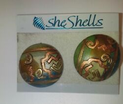 She Sells wooden earrings grey gold copper abstract designs