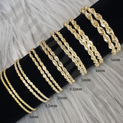 10K Solid Yellow Gold Necklace Rope Chain 16#x27;#x27; 30quot; 1mm 1.5mm 2mm 2.5mm 3mm 4mm $57.50