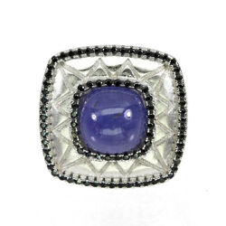 Unheated Cushion Blue Tanzanite 10mm Black Spinel 925 Sterling Silver Ring Sz 7