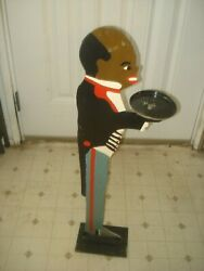 WHIMSICAL FOLK ART BLACK AMERICANA WOODEN BUTLER SMOKE STAND