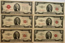 $2 Bills (Lot Of 6) 1928 (1) 1953 (4) 1963 (1). Rare Vintage Notes Collectors