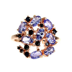 Unheated Oval Blue Tanzanite 5x3mm Black Spinel 925 Sterling Silver Ring Size 8