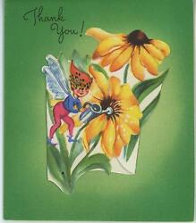 VINTAGE TINY FAIRY WATERING CAN SUNFLOWERS FLOWERS LITHOGRAPH CARD ART OLD PRINT