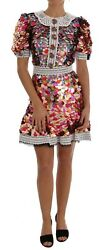 Dolce & Gabbana Multicolor Sequined Crepe Mini Dress IT38XS