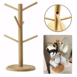 Mug Tree Holder 6 Cups Coffee Tea Cup Rack Wooden Storage Stand Organizer SL