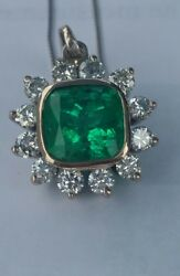 ☆$17500☆ 4CT COLOMBIAN EMERALD 18KT W GOLD PENDANT DIAMOND NECKLACE INVESTMENT!