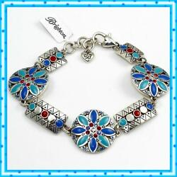 Brighton Africa Stories Multi Blue Colorful SIlver Bracelet NWT $78