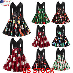 US Womens Vintage Christmas Santa Swing Dress Xmas Party Fancy Dresses Plus Size