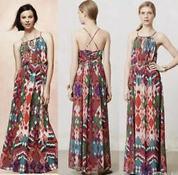 New Anthropologie Tarana Maxi Dress Artsy Pleated Colorful Silk Maeve Size 16 XL