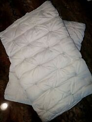 2- Pottery Barn Isabelle King Tufted Viole N ICY Blue Shams