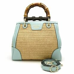 MINT! Auth GUCCI Bamboo Shopper Small 2WAY Bag 336032 Light Blue x Beige 055345