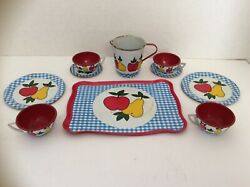 Tea Set antique For Dolls. Vintage Metal With Apples And Pears $5.88