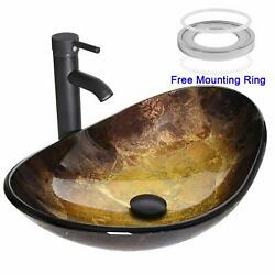 Oval Bathroom Sink Artistic Tempered Glass Vessel Sink Combo Faucet Pop-up Drain $79.99