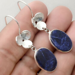 Natural Sodalite 925 Sterling Silver Matte Finish Earrings Jewelry AE22118
