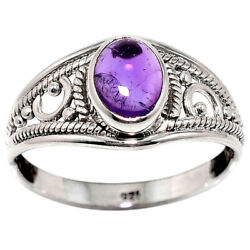 Artisan - Amethyst - Africa 925 Sterling Silver Ring Jewelry s.8 AR57800