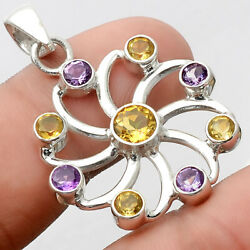 Natural Citrine and Amethyst 925 Sterling Silver Pendant Jewelry AP53483