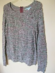 Maurices Tunic Sweater size L Burgundy Black White Long Sleeve Cable Knit