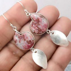 Pink Thulite 925 Sterling Silver Matte Finish Earrings Jewelry AE22190