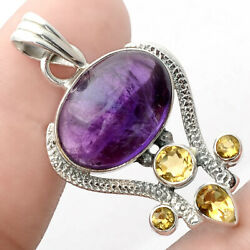 Natural Amethyst Cab and Citrine 925 Sterling Silver Pendant Jewelry AP53207