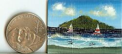 1 x1.5 Inch ORIGINAL Dollhouse Hawaii Tropical Beach Boats Bay Sailing  HYMES