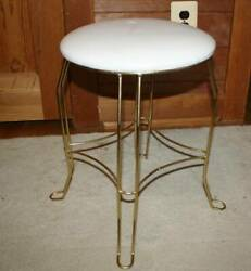 Vintage Mid Century Modern Gold Plated Brass  Stool Vanity Bench Great Condition