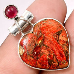 Heart - Copper Red Turquoise and Rhodolite Garnet 925 Silver Pendant AP41433