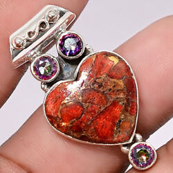 Heart Copper Red Turquoise and Magic Topaz 925 Silver Pendant Jewelry AP32582