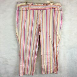 Venezia Womens Plus Size 16 Capri Pants Cotton Blend Striped Pink Orange