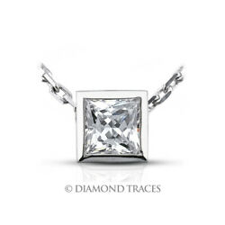 1 14ct F VS2 Princess Earth Mined Certified Diamond 18k Gold Solitaire Pendant